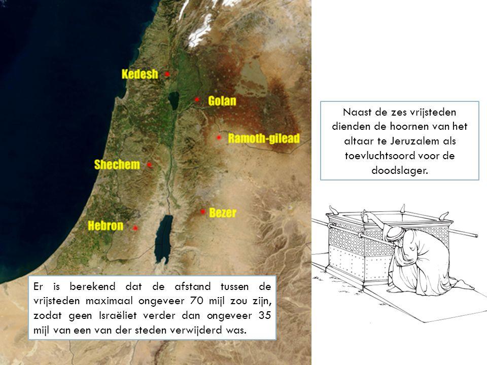 Naast de zes vrijsteden dienden de hoornen van het altaar te Jeruzalem als toevluchtsoord voor de doodslager.