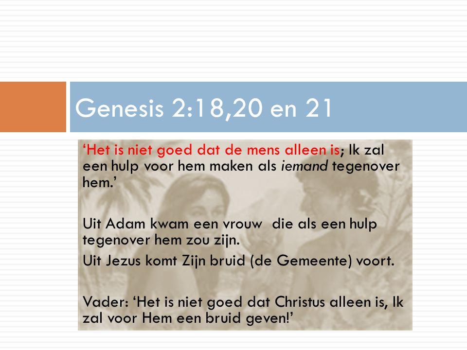 Genesis 2:18,20 en 21 'Het is niet goed dat de mens alleen is; Ik zal een hulp voor hem maken als iemand tegenover hem.'