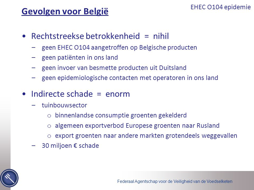 Gevolgen voor België Rechtstreekse betrokkenheid = nihil