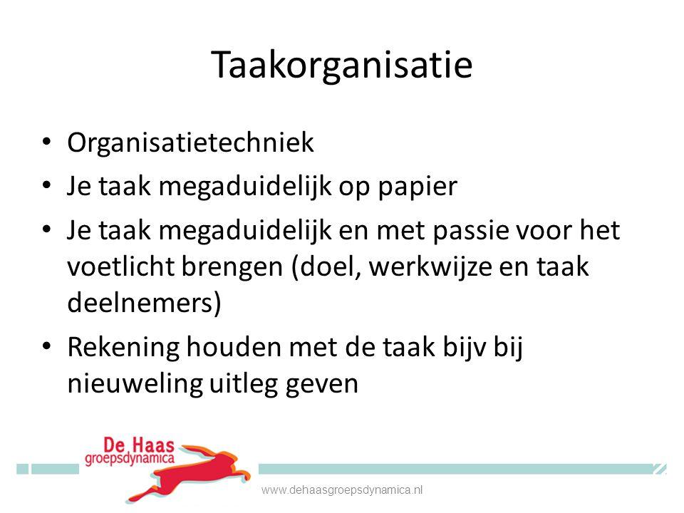 Taakorganisatie Organisatietechniek Je taak megaduidelijk op papier