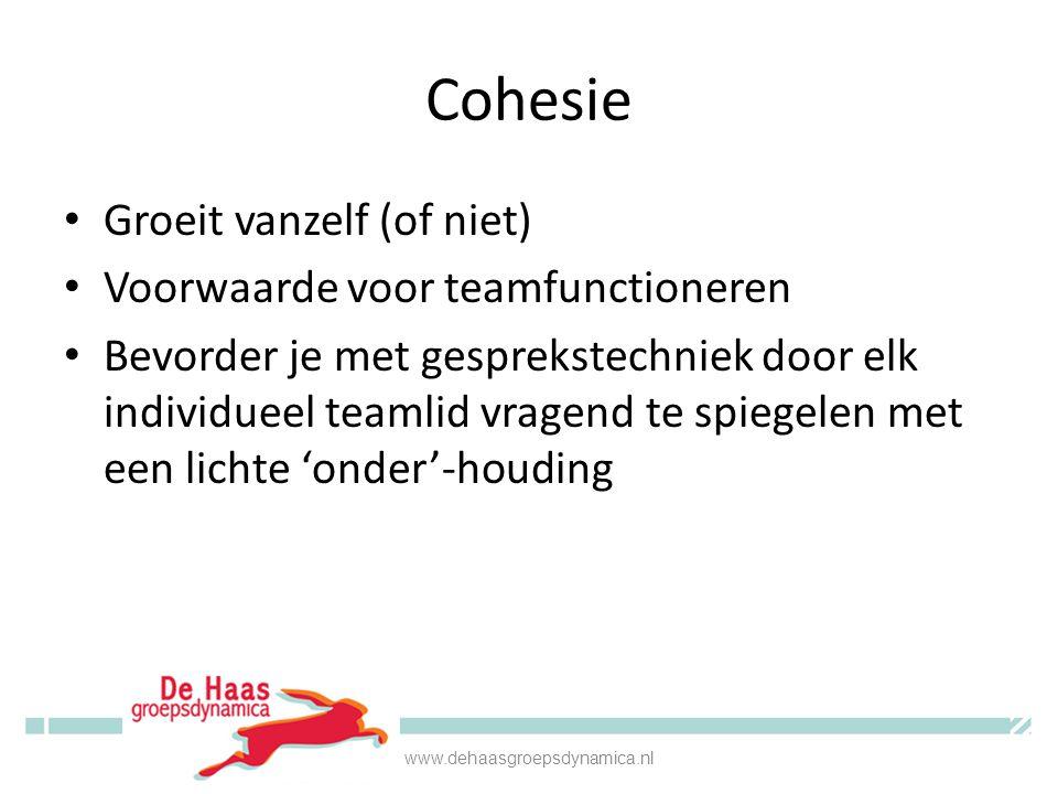 Cohesie Groeit vanzelf (of niet) Voorwaarde voor teamfunctioneren