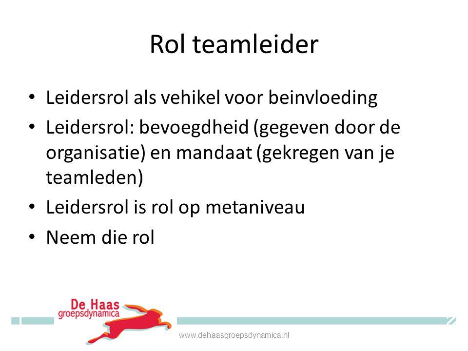 Rol teamleider Leidersrol als vehikel voor beinvloeding