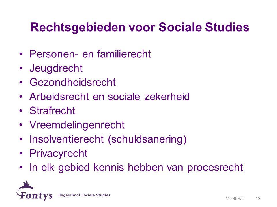 Rechtsgebieden voor Sociale Studies