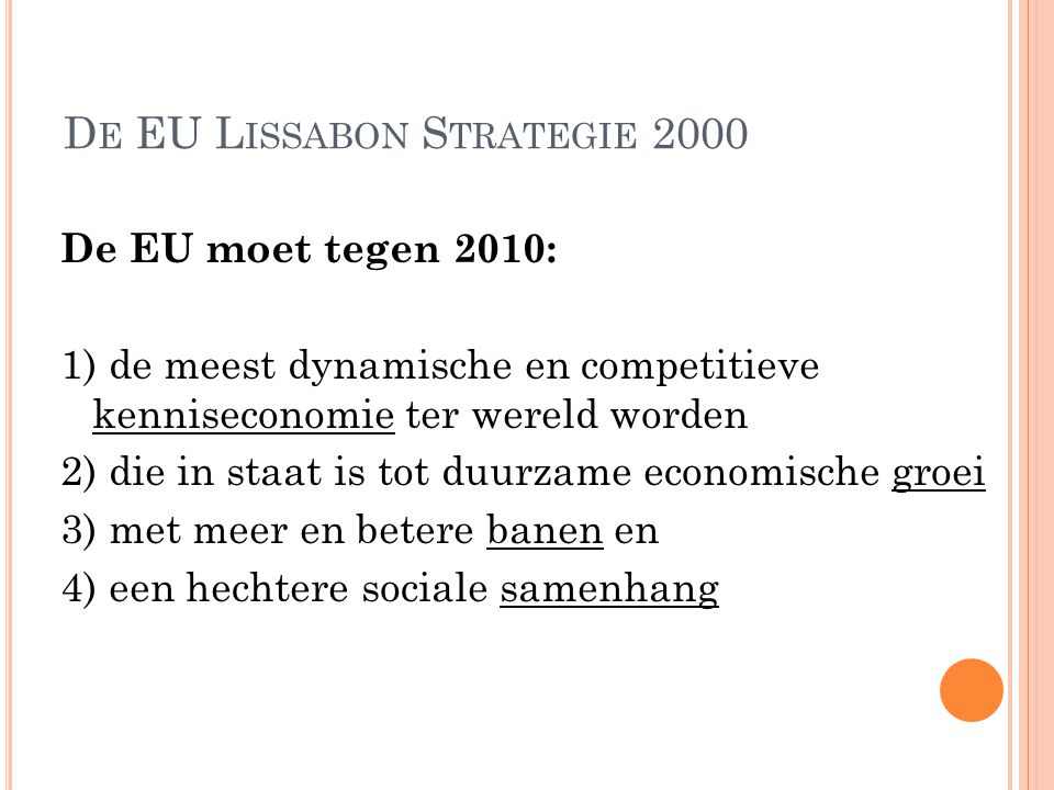 De EU Lissabon Strategie 2000