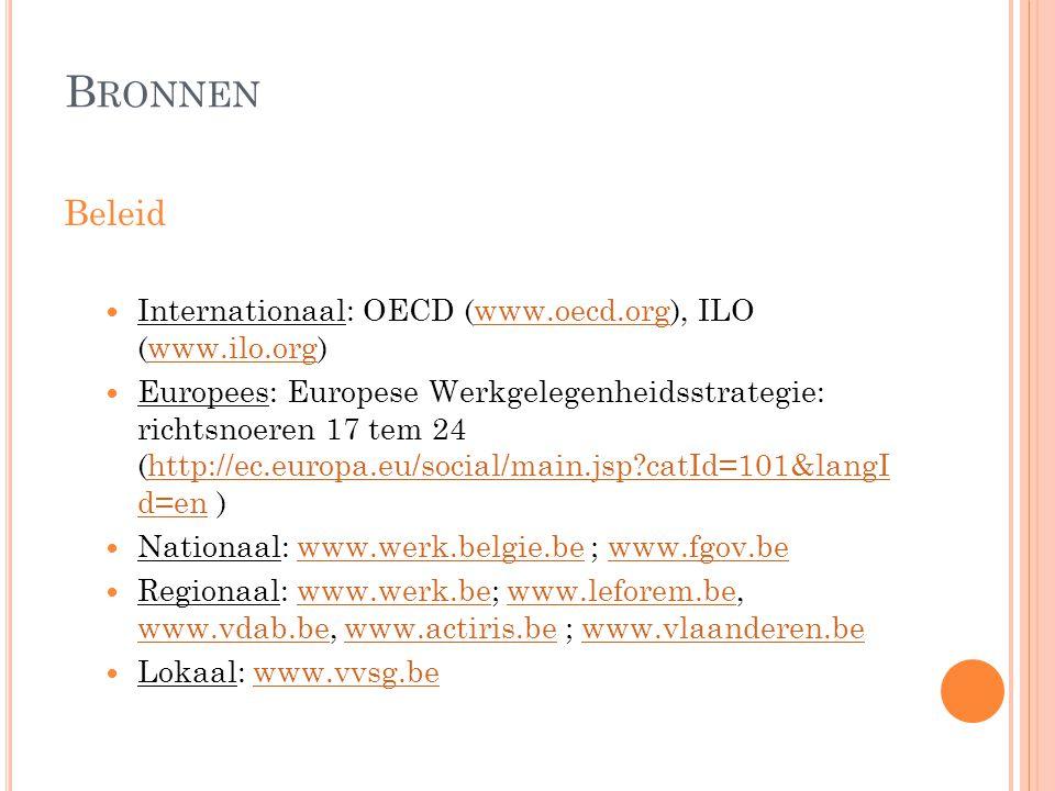 Bronnen Beleid Internationaal: OECD (www.oecd.org), ILO (www.ilo.org)