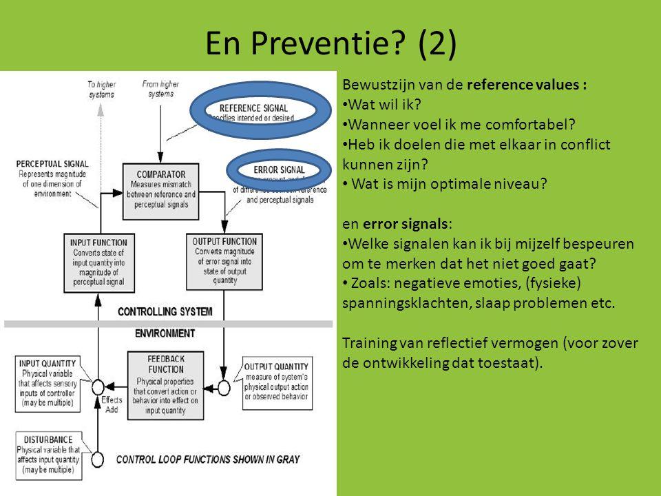 En Preventie (2) Bewustzijn van de reference values : Wat wil ik