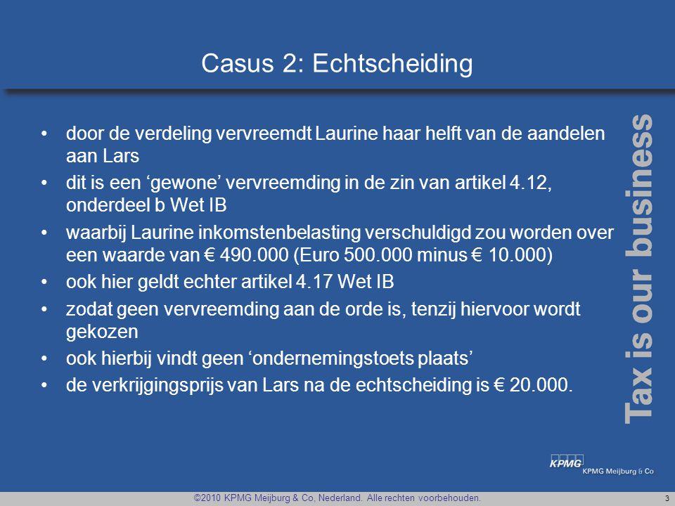 Casus 2: Echtscheiding door de verdeling vervreemdt Laurine haar helft van de aandelen aan Lars.