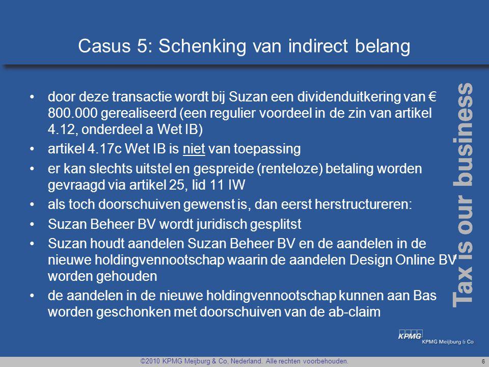 Casus 5: Schenking van indirect belang