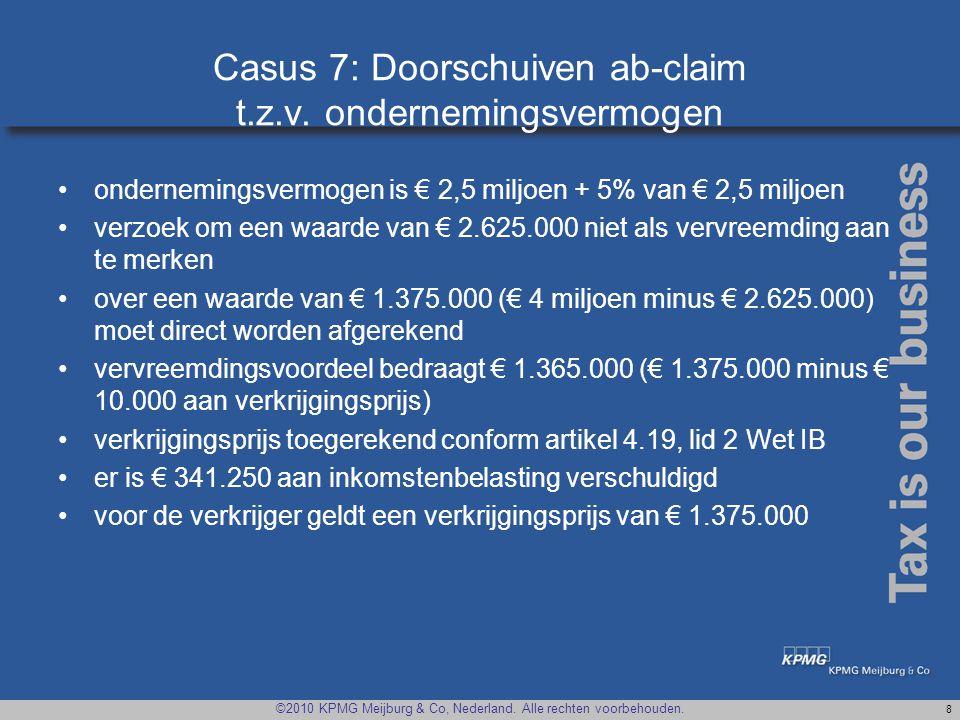 Casus 7: Doorschuiven ab-claim t.z.v. ondernemingsvermogen