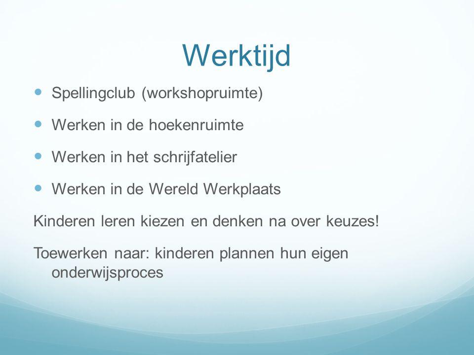 Werktijd Spellingclub (workshopruimte) Werken in de hoekenruimte