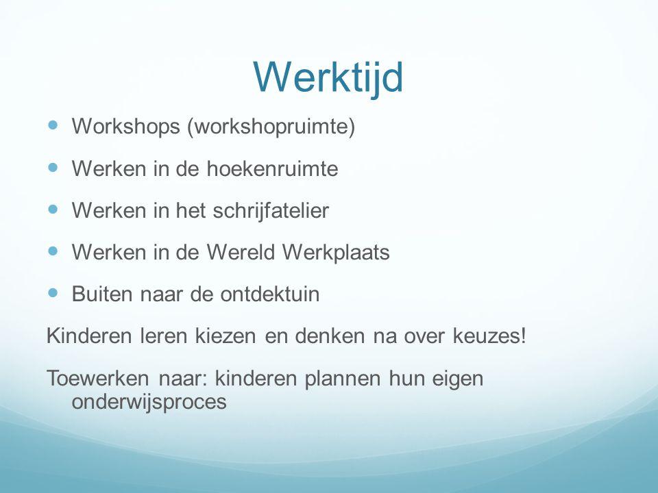 Werktijd Workshops (workshopruimte) Werken in de hoekenruimte