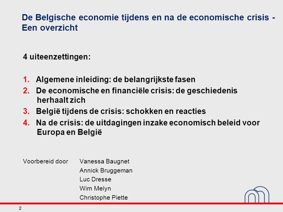 De Belgische economie tijdens en na de economische crisis - Een overzicht