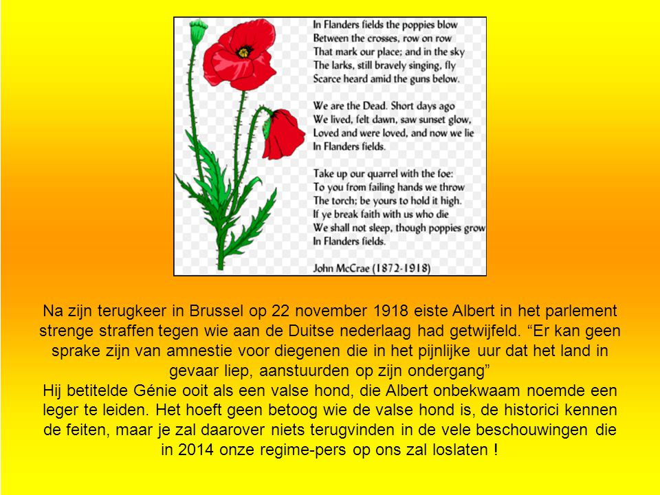 Na zijn terugkeer in Brussel op 22 november 1918 eiste Albert in het parlement strenge straffen tegen wie aan de Duitse nederlaag had getwijfeld. Er kan geen sprake zijn van amnestie voor diegenen die in het pijnlijke uur dat het land in gevaar liep, aanstuurden op zijn ondergang