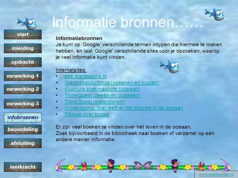 Informatie bronnen…… start Informatiebronnen