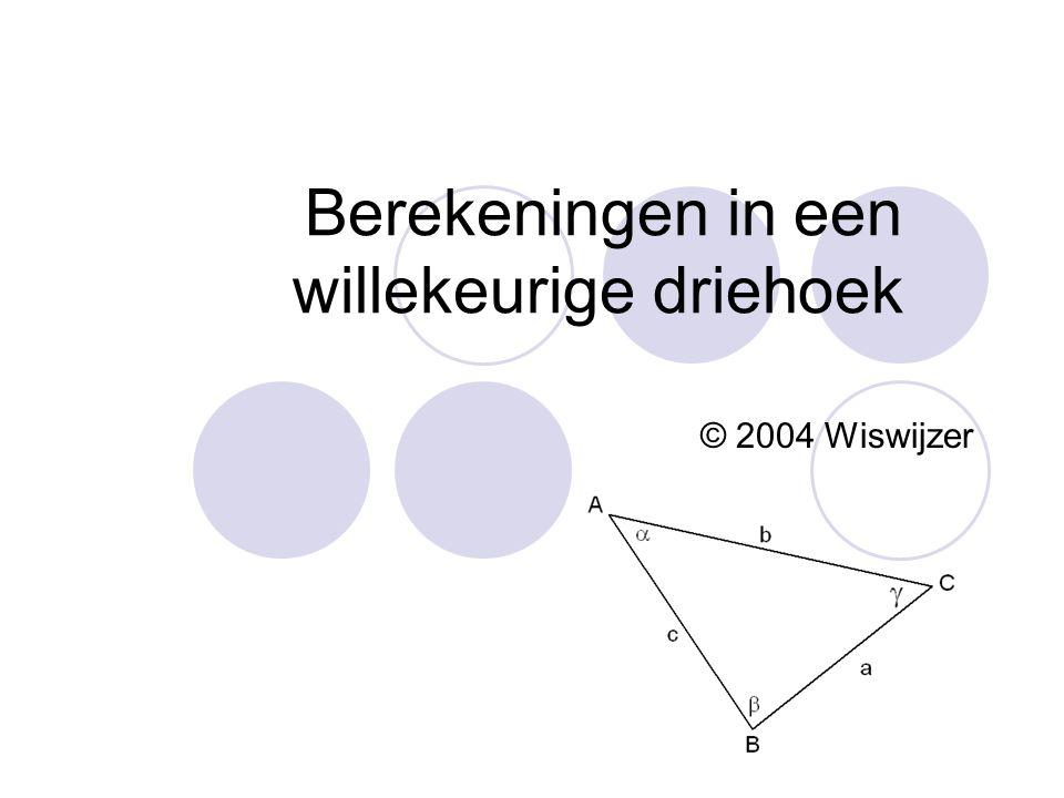 Berekeningen in een willekeurige driehoek