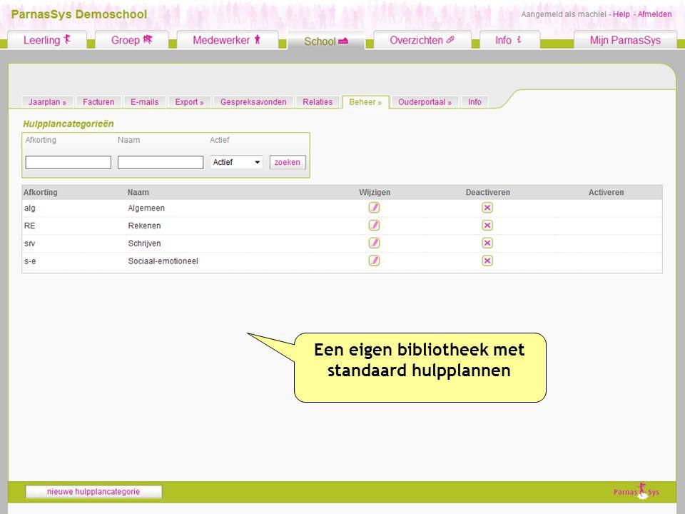 Een eigen bibliotheek met standaard hulpplannen
