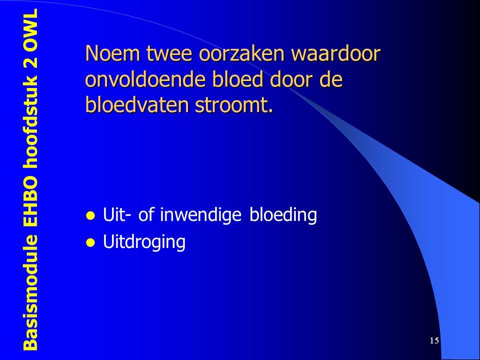 Noem twee oorzaken waardoor onvoldoende bloed door de bloedvaten stroomt.