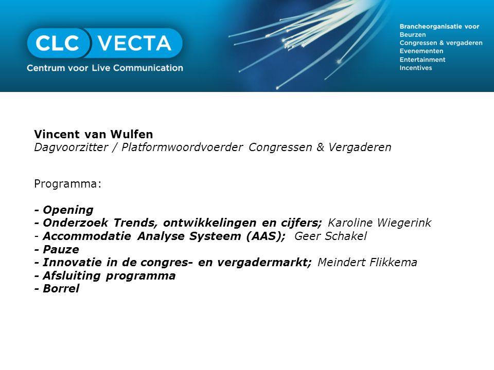 Vincent van Wulfen Dagvoorzitter / Platformwoordvoerder Congressen & Vergaderen. Programma: - Opening.