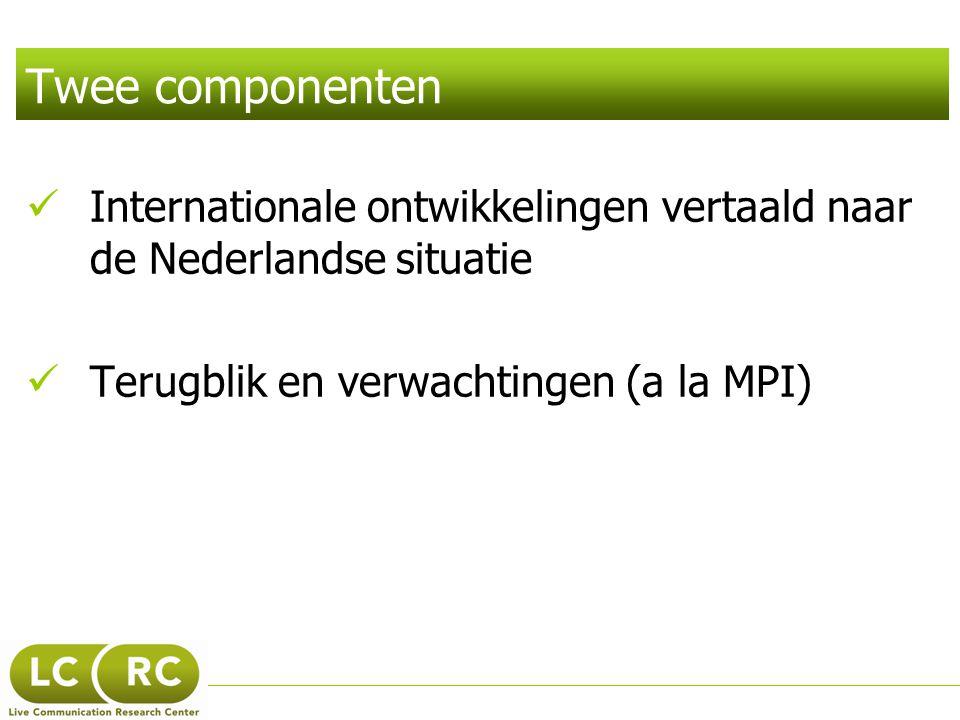 Twee componenten Internationale ontwikkelingen vertaald naar de Nederlandse situatie.