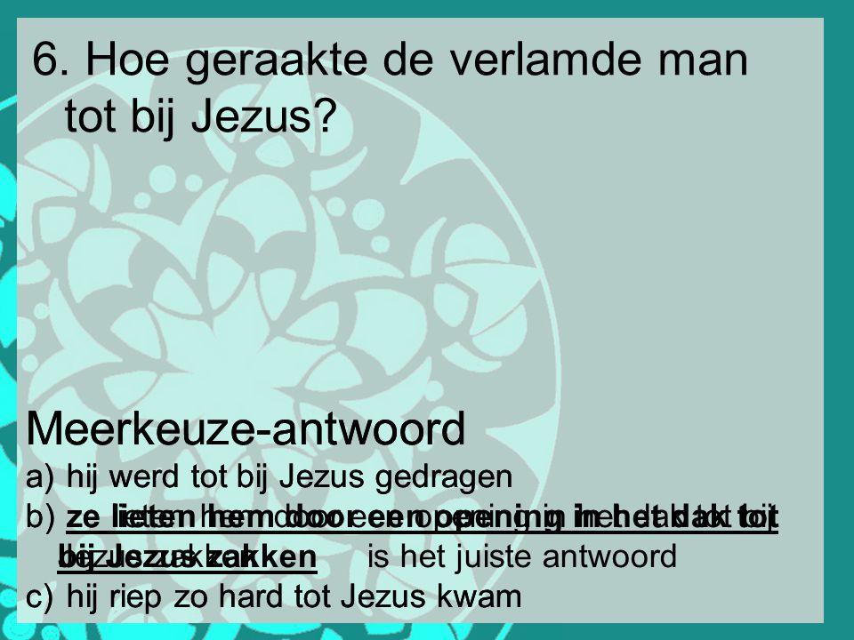 6. Hoe geraakte de verlamde man tot bij Jezus