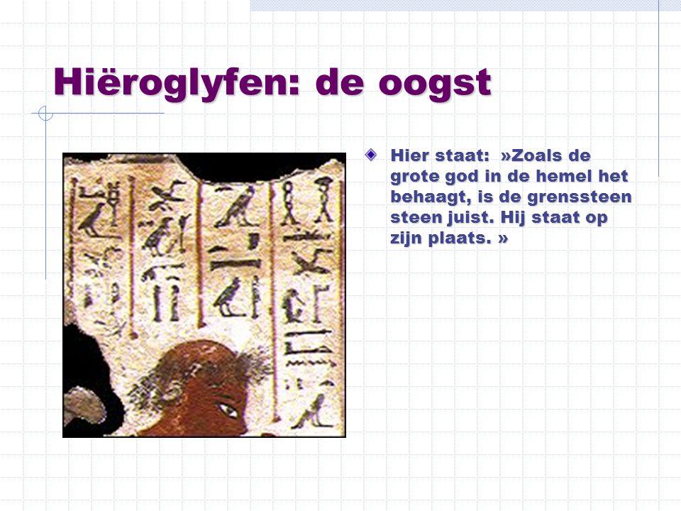 Hiëroglyfen: de oogst Hier staat: »Zoals de grote god in de hemel het behaagt, is de grenssteen steen juist. Hij staat op zijn plaats. »