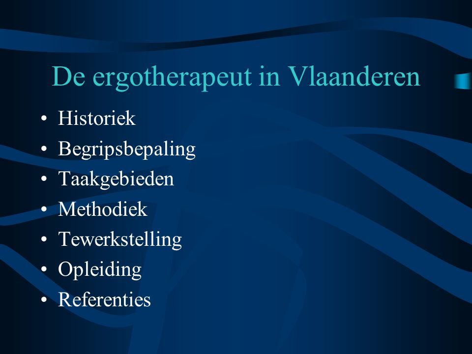 De ergotherapeut in Vlaanderen
