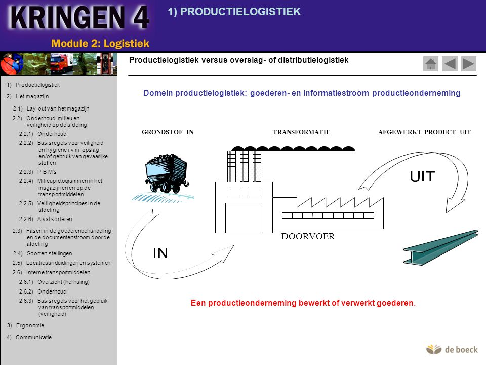 1) PRODUCTIELOGISTIEK DOORVOER