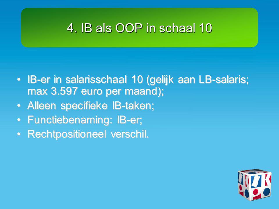 4. IB als OOP in schaal 10 IB-er in salarisschaal 10 (gelijk aan LB-salaris; max 3.597 euro per maand);