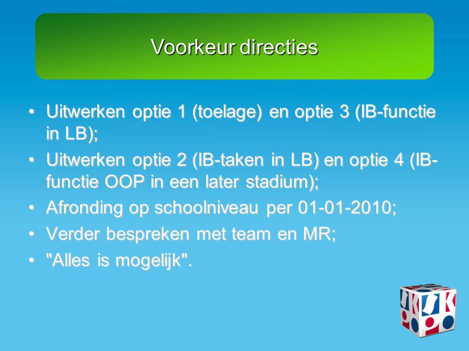 Voorkeur directies Uitwerken optie 1 (toelage) en optie 3 (IB-functie in LB);