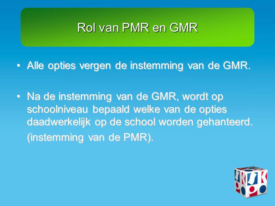 Rol van PMR en GMR Alle opties vergen de instemming van de GMR.
