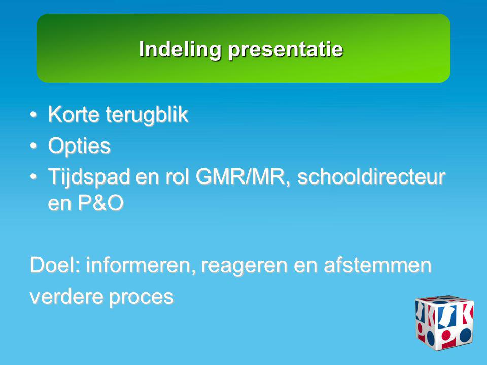 Tijdspad en rol GMR/MR, schooldirecteur en P&O