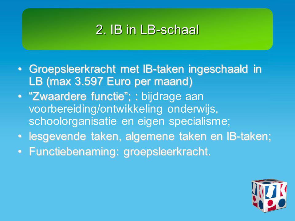 2. IB in LB-schaal Groepsleerkracht met IB-taken ingeschaald in LB (max 3.597 Euro per maand)