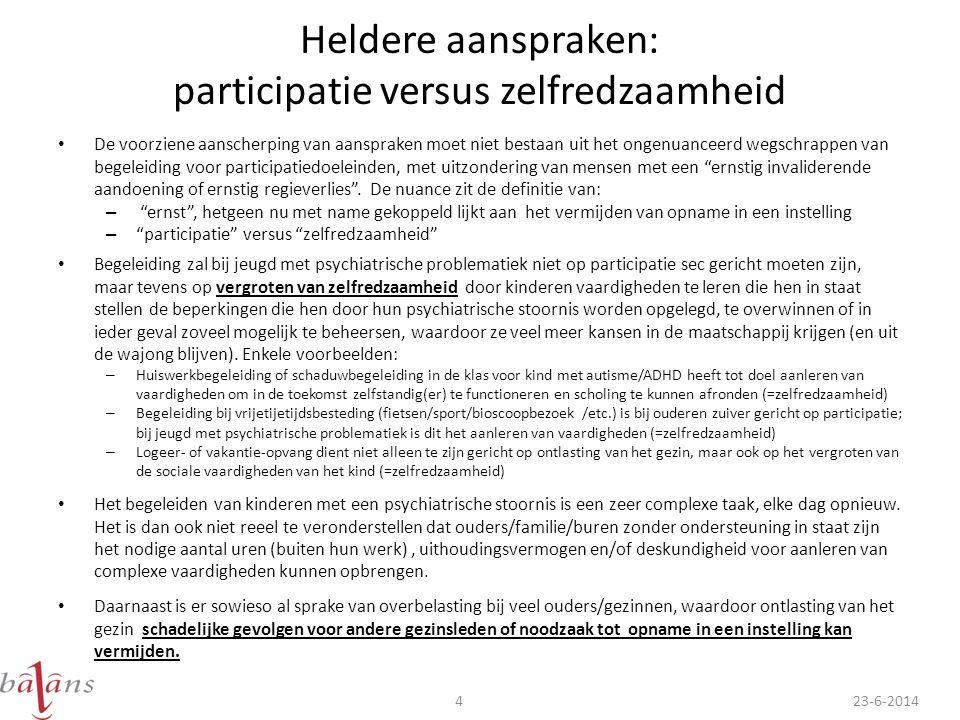 Heldere aanspraken: participatie versus zelfredzaamheid