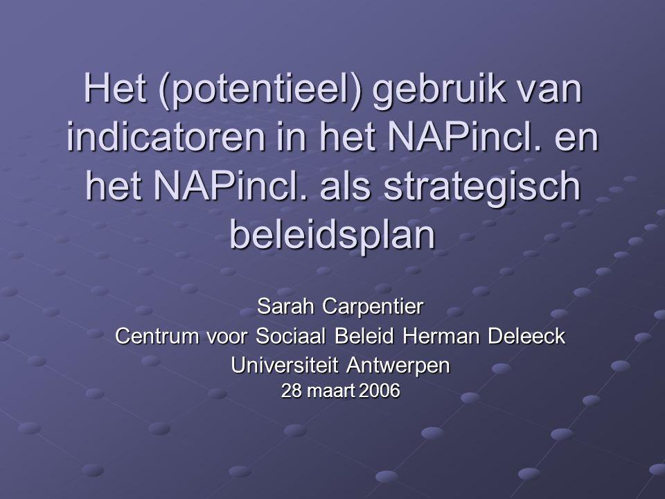 Het (potentieel) gebruik van indicatoren in het NAPincl. en het NAPincl. als strategisch beleidsplan