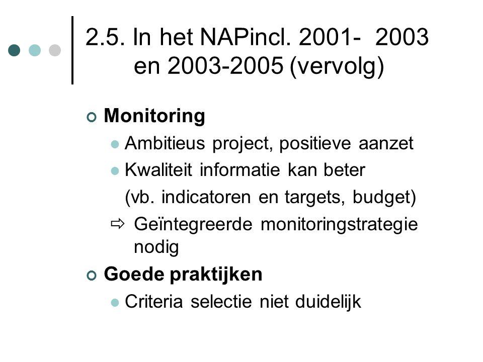 2.5. In het NAPincl. 2001- 2003 en 2003-2005 (vervolg)