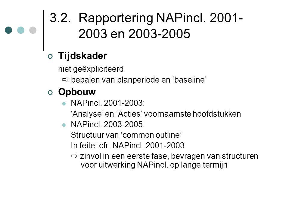 3.2. Rapportering NAPincl. 2001- 2003 en 2003-2005