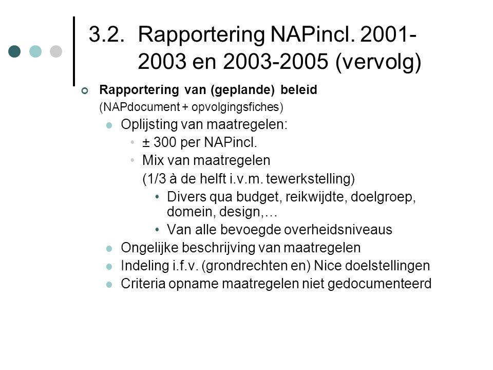 3.2. Rapportering NAPincl. 2001- 2003 en 2003-2005 (vervolg)