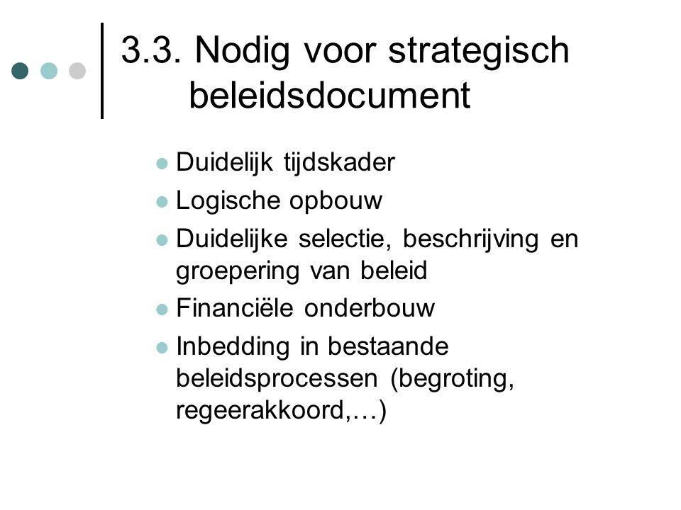3.3. Nodig voor strategisch beleidsdocument