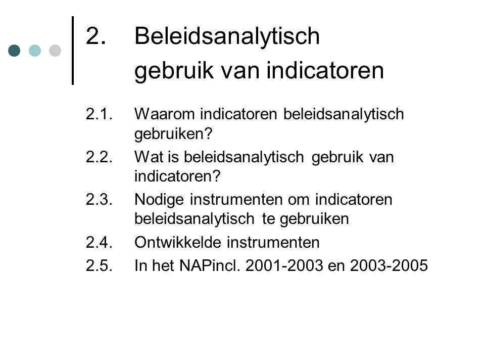 2. Beleidsanalytisch gebruik van indicatoren