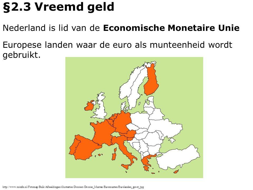 §2.3 Vreemd geld Nederland is lid van de Economische Monetaire Unie