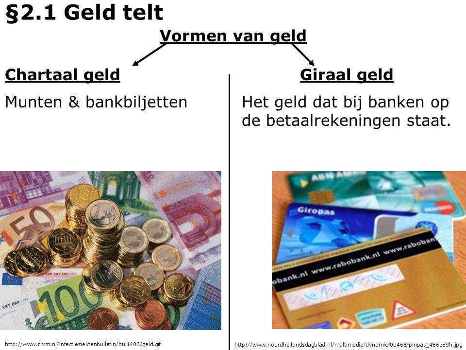 §2.1 Geld telt Vormen van geld Chartaal geld Giraal geld
