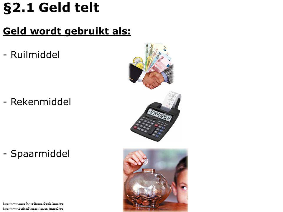 §2.1 Geld telt Geld wordt gebruikt als: - Ruilmiddel - Rekenmiddel