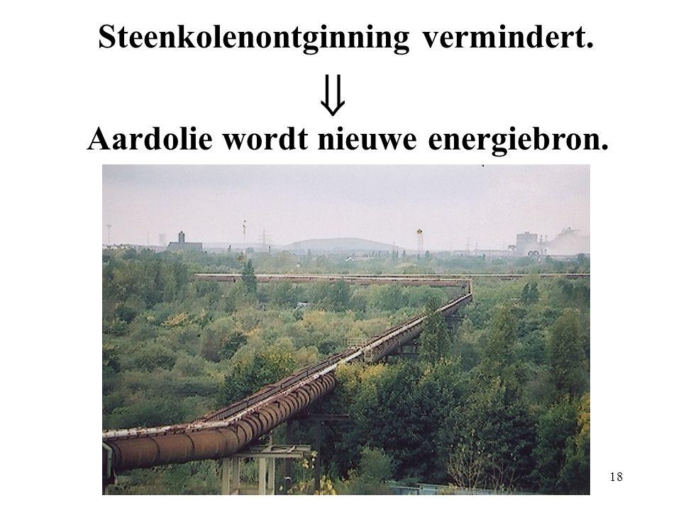 Steenkolenontginning vermindert.