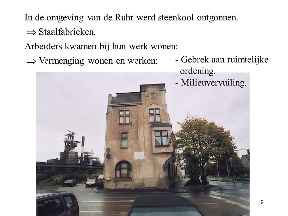 In de omgeving van de Ruhr werd steenkool ontgonnen.