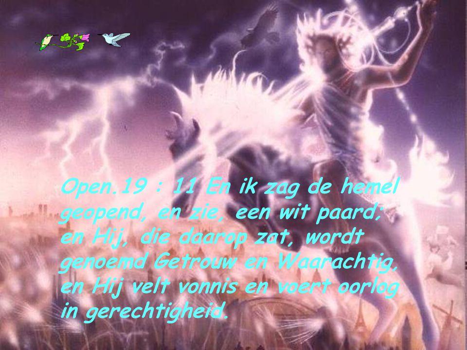 Open.19 : 11 En ik zag de hemel geopend, en zie, een wit paard; en Hij, die daarop zat, wordt genoemd Getrouw en Waarachtig, en Hij velt vonnis en voert oorlog in gerechtigheid.