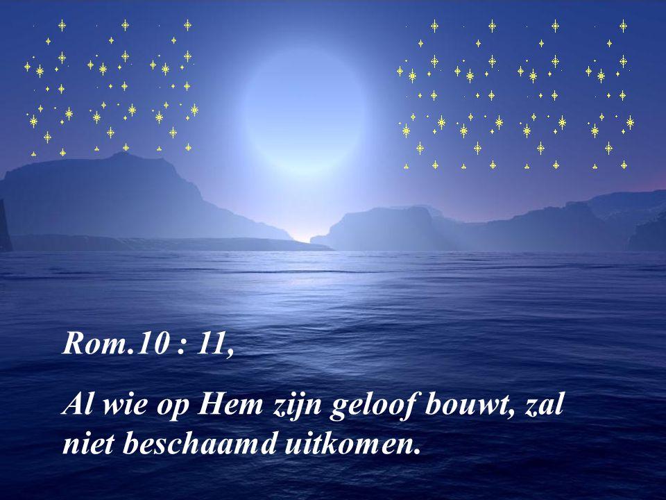 Rom.10 : 11, Al wie op Hem zijn geloof bouwt, zal niet beschaamd uitkomen.