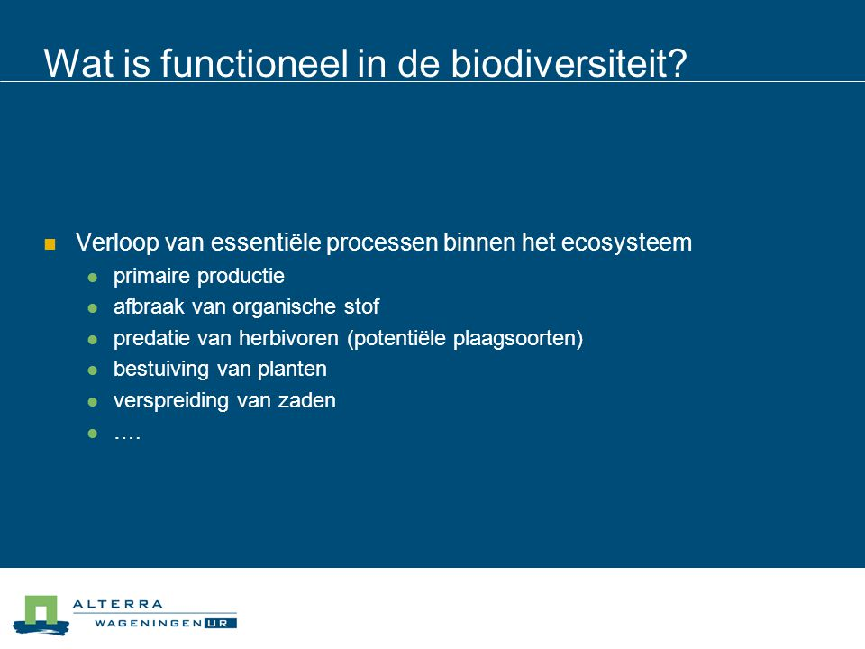 Wat is functioneel in de biodiversiteit