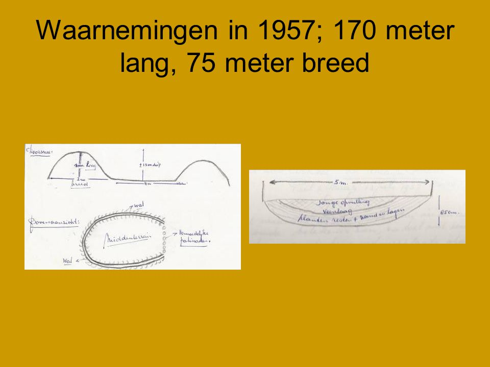 Waarnemingen in 1957; 170 meter lang, 75 meter breed