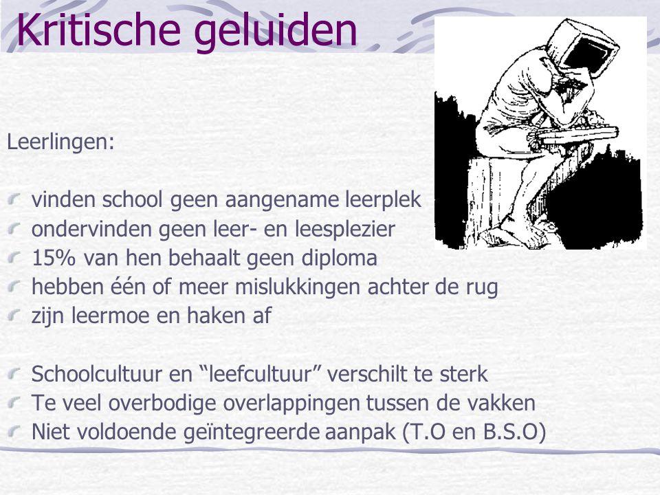 Kritische geluiden Leerlingen: vinden school geen aangename leerplek