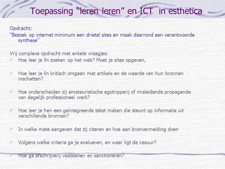 Toepassing leren leren en ICT in esthetica